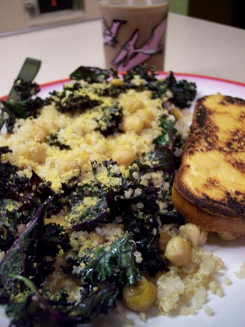 purple kale, quinoa and choc almond milk